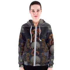 Awesome Tribal Dragon Made Of Metal Women s Zipper Hoodie