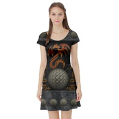 Awesome Tribal Dragon Made Of Metal Short Sleeve Skater Dress