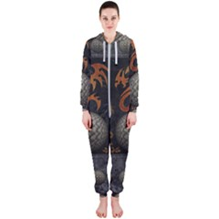 Awesome Tribal Dragon Made Of Metal Hooded Jumpsuit (ladies)