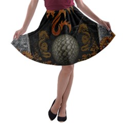Awesome Tribal Dragon Made Of Metal A Line Skater Skirt