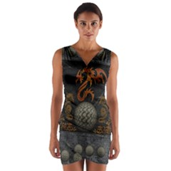 Awesome Tribal Dragon Made Of Metal Wrap Front Bodycon Dress