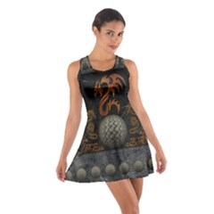 Awesome Tribal Dragon Made Of Metal Cotton Racerback Dress