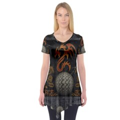 Awesome Tribal Dragon Made Of Metal Short Sleeve Tunic