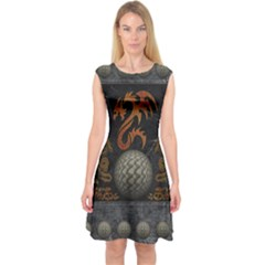 Awesome Tribal Dragon Made Of Metal Capsleeve Midi Dress