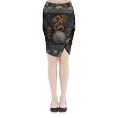 Awesome Tribal Dragon Made Of Metal Midi Wrap Pencil Skirt