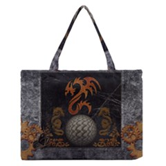 Awesome Tribal Dragon Made Of Metal Zipper Medium Tote Bag