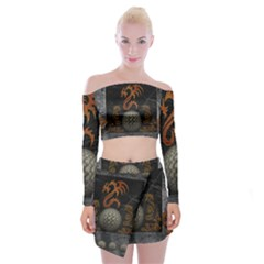 Awesome Tribal Dragon Made Of Metal Off Shoulder Top With Mini Skirt Set