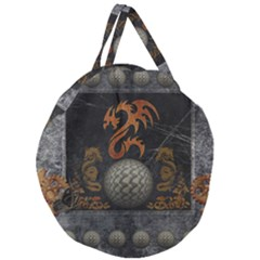 Awesome Tribal Dragon Made Of Metal Giant Round Zipper Tote