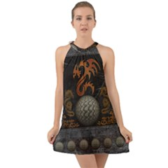 Awesome Tribal Dragon Made Of Metal Halter Tie Back Chiffon Dress