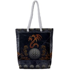 Awesome Tribal Dragon Made Of Metal Full Print Rope Handle Tote (small)