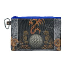 Awesome Tribal Dragon Made Of Metal Canvas Cosmetic Bag (large)