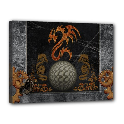Awesome Tribal Dragon Made Of Metal Canvas 16  X 12