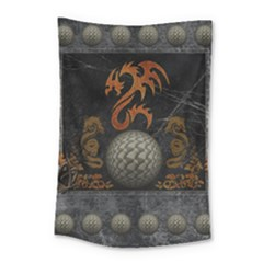 Awesome Tribal Dragon Made Of Metal Small Tapestry