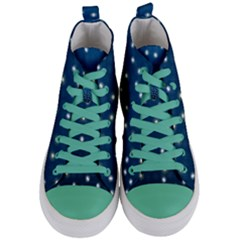 Christmas Light Blue Women s Mid Top Canvas Sneakers