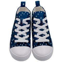 Christmas Light Blue Kid s Mid Top Canvas Sneakers