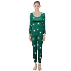 Christmas Light Green Long Sleeve Catsuit