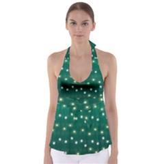 Christmas Light Green Babydoll Tankini Top