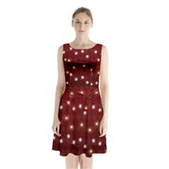 Christmas Light Red Sleeveless Waist Tie Chiffon Dress