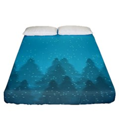Winter Land Blue Fitted Sheet (queen Size)