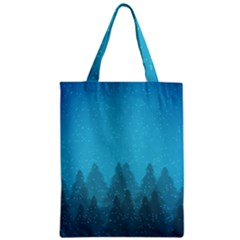 Winter Land Blue Zipper Classic Tote Bag