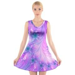 Delicate V Neck Sleeveless Skater Dress
