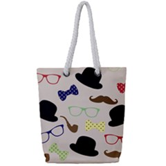 Moustache Hat Bowler Bowler Hat Full Print Rope Handle Tote (small)