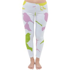 Birds Colourful Background Classic Winter Leggings