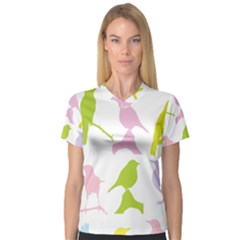 Birds Colourful Background V Neck Sport Mesh Tee