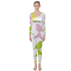 Birds Colourful Background Long Sleeve Catsuit
