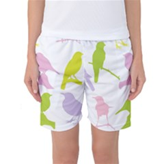 Birds Colourful Background Women s Basketball Shorts