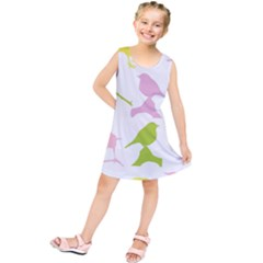 Birds Colourful Background Kids  Tunic Dress