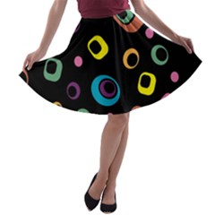 Abstract Background Retro 60s 70s A Line Skater Skirt