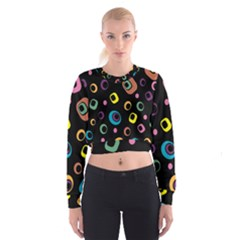 Abstract Background Retro 60s 70s Cropped Sweatshirt