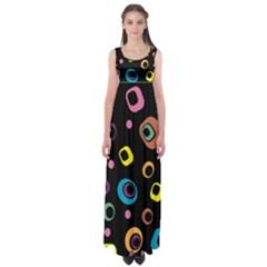 Abstract Background Retro 60s 70s Empire Waist Maxi Dress