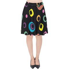 Abstract Background Retro 60s 70s Velvet High Waist Skirt