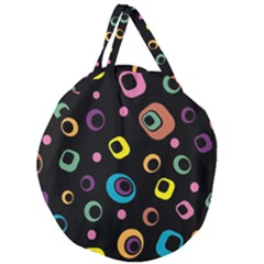 Abstract Background Retro 60s 70s Giant Round Zipper Tote
