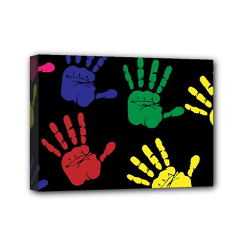 Handprints Hand Print Colourful Mini Canvas 7  X 5