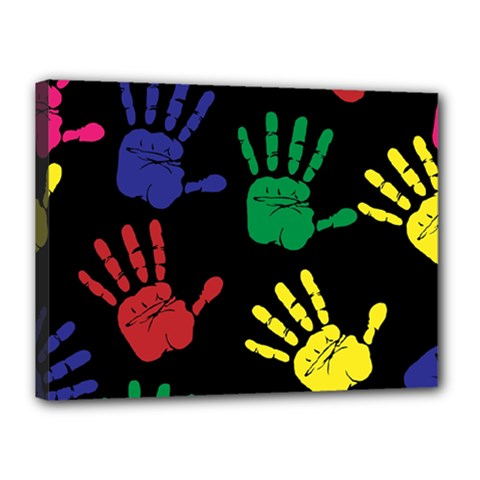 Handprints Hand Print Colourful Canvas 16  X 12