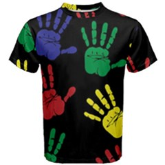 Handprints Hand Print Colourful Men s Cotton Tee