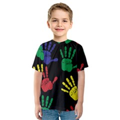 Handprints Hand Print Colourful Kids  Sport Mesh Tee