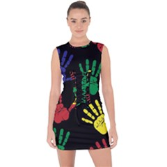 Handprints Hand Print Colourful Lace Up Front Bodycon Dress
