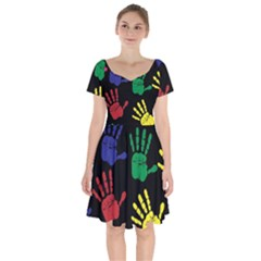 Handprints Hand Print Colourful Short Sleeve Bardot Dress
