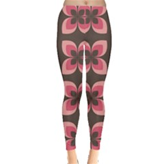 Floral Retro Abstract Flowers Leggings