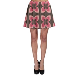 Floral Retro Abstract Flowers Skater Skirt