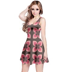 Floral Retro Abstract Flowers Reversible Sleeveless Dress