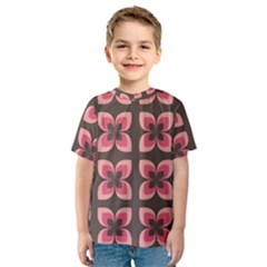 Floral Retro Abstract Flowers Kids  Sport Mesh Tee