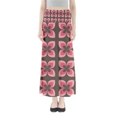 Floral Retro Abstract Flowers Full Length Maxi Skirt