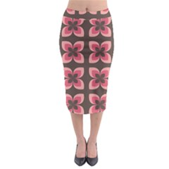 Floral Retro Abstract Flowers Midi Pencil Skirt