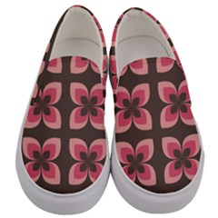 Floral Retro Abstract Flowers Men s Canvas Slip Ons