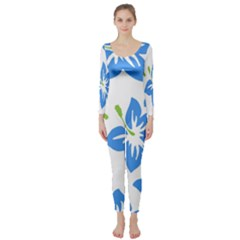 Hibiscus Wallpaper Flowers Floral Long Sleeve Catsuit